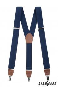 Kék férfi nadrágtartó Y barna bőr és fém klipek
