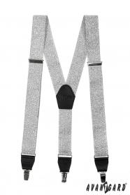 Férfi nadrágtartó Y alakú - ajándékdoboz - ezüst