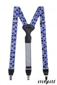 Kék mintás férfi nadrágtartó, fém klipsz