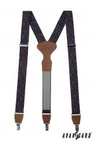 Kék nadrágtartó, virágmintás, barna bőr és fém klipek