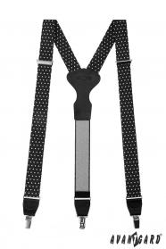 Fekete harisnyatartó fehér pöttyös pontokkal, fekete bőr és fém kapcsokkal