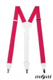 Piros-fehér pöttyös nadrágtartó fehér bőr és fém kapcsokkal
