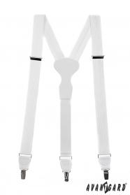 Fehér strukturált nadrágtartó fehér bőrrel és fém klipekhez