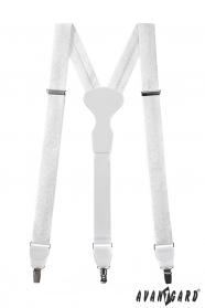 Fehér mintás nadrágtartó fehér bőrrel és fém klipekhez
