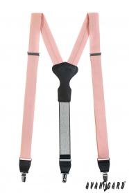 Púder színű Y alakú nadrágtartó csatokkal és fekete bőr középpel - ajándék csomagolásban