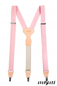 Rózsaszín nadrágtartó, bézs bőr, fém klipek