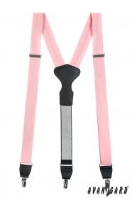 Rózsaszín Y alakú nadrágtartó fekete bőr középpel, ajándék csomagolásban