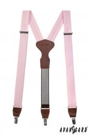 Y alakú rózsaszín nadrágtartó, bőr középpel, csipeszes fogatással ajándék csomagolásban