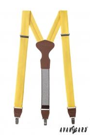 Férfi sárga nadrágtartók barna bőr és fém kapcsokkal