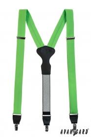 Zöld nadrágtartó bőr középpel és csatokkal - ajándék csomagolásban