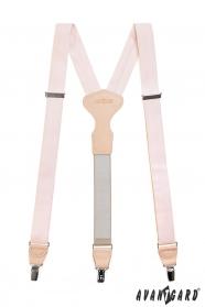 Rózsaszín nadrágtartó, bézs bőr és fém kapcsokkal díszdobozban