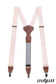 Rózsaszín nadrágtartó, barna bőr és fém kapcsokkal díszdobozban