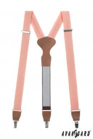 Lazac rózsaszínű férfi nadrágtartó, barna bőrrel és fém kapcsokkal