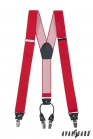 Piros nadrágtartó fekete kiegészítőkkel és fém kapcsokkal