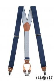 Kék Y alakú nadrágtartó, sötétbarna bőrrel és 4-clip rögzítéssel