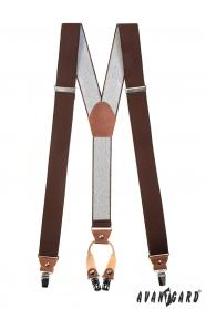 Férfi barna nadrágtartók, barna bőrrel és fém klipekkel