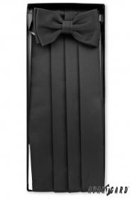 Fekete övkendő csokornyakkendővel és díszkendővel