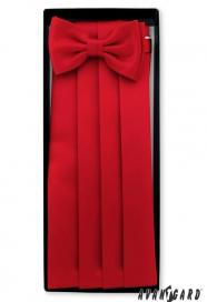 Piros övkendő csokornyakkendővel és díszkendővel