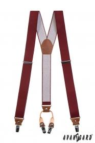 Bordó Y alakú nadrágtartó, sötétbarna bőrrel és 4-clip rögzítéssel