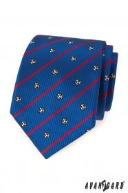 Kék labdarúgó nyakkendő piros csíkkal