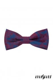 Csokornyakkendő díszzsebkendővel, kék-piros mintával