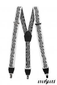 Férfi zene nadrágtartók, fekete bőrrel és klipszes klipszel fadobozdobozban