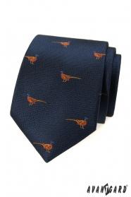 Kék nyakkendő fácán mintával