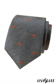 Szürke nyakkendő, fácánmintás