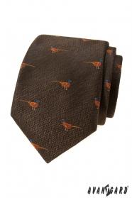 Barna nyakkendő, fácánmintás