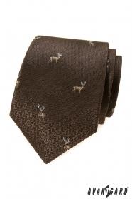 Barna nyakkendő szarvassal