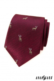Burgundi nyakkendő szarvassal