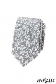 Világosszürke nyakkendő fehér szirommal