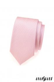 Rózsaszín finom strukturált slim nyakkendő