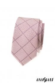 Keskeny nyakkendő rózsaszín por mintával