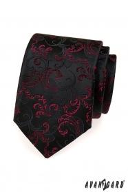Fekete nyakkendő lila motívumok