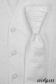 Férfi mintás esküvői mellény fehér szín