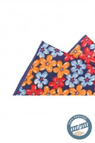 Sötétkét selyem díszzsebkendő virágokkal