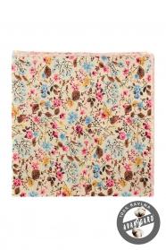 Krém színű díszzsebkendő színes virágokkal