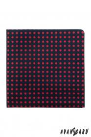 Sötétkék díszzsebkendő piros pöttyökkel