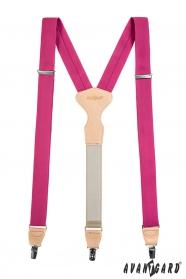 Fukszia szinű Y alakú nadrágtartó bézs bőr középpel - ajándék csomagolásba