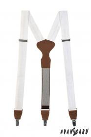 Y alakú fehér nadrágtartó bőr középpel és csipeszes fogatással ajándék csomagolásban