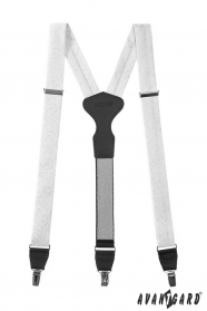 Fehér nadrágtartó mintával, fekete bőr, fémkapcsokat, díszdobozban