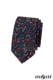 Sötétkék vékony nyakkendő virágmintás