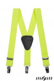 Fiú nadrágtartó  Y-alakú 3-klip tartó, sárga NEON