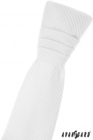 Fehér fiúk francia nyakkendő, átlós csíkkal