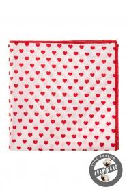 Fehér díszzsebkendő - Piros szív