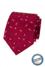 Selyem, mintás nyakkendő bordó