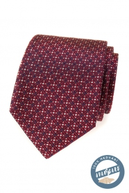 Piros selyem nyakkendő színes mintával