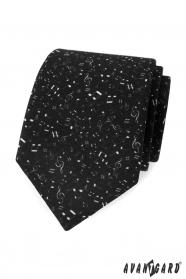 Fekete férfi nyakkendő, zenei jegyzetek