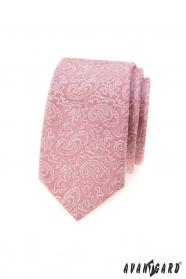 Púder rózsaszín keskeny nyakkendő Paisley mintával